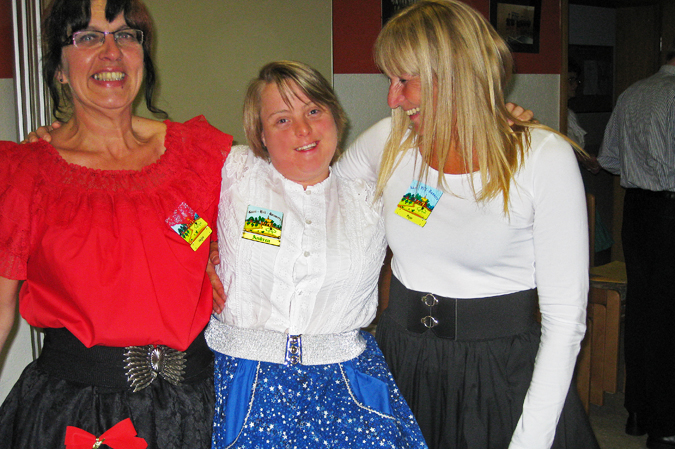 Andrea with two of her friends from the Square Dance Club