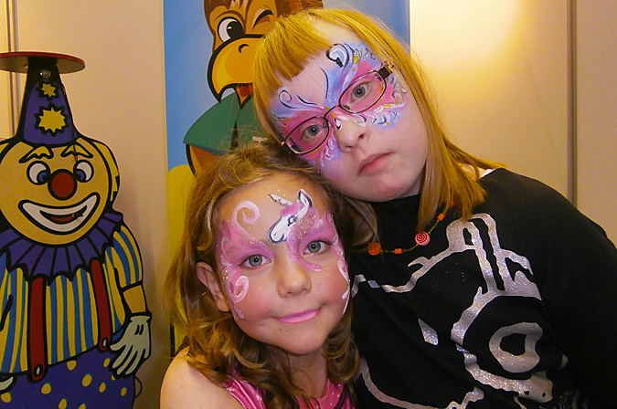 Helena and Alina with painted faces