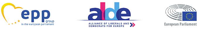 Logos of epp group, Alliance of Liberals and Democrats for Europe, European Parliament