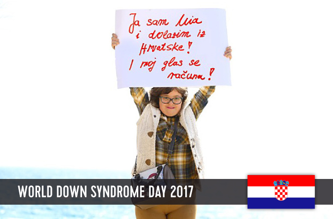 Young Croatian woman holding up a sign with her statement to WDSD 2017