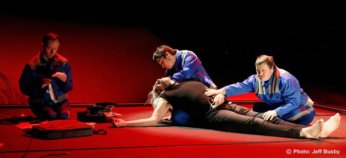 "Photo theater performance ""Lady eats apple"""