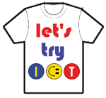 "Image of a T shirt with visual ""Let's try ICT"""