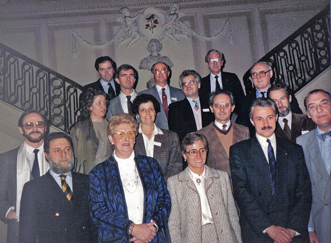 Photograph, taken at the Town Hall of Verviers, of the founding members (France) showing the association's first board of management