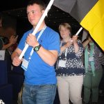 Young delegates from Germany_with flags at WDSC 2018 in Glasgow