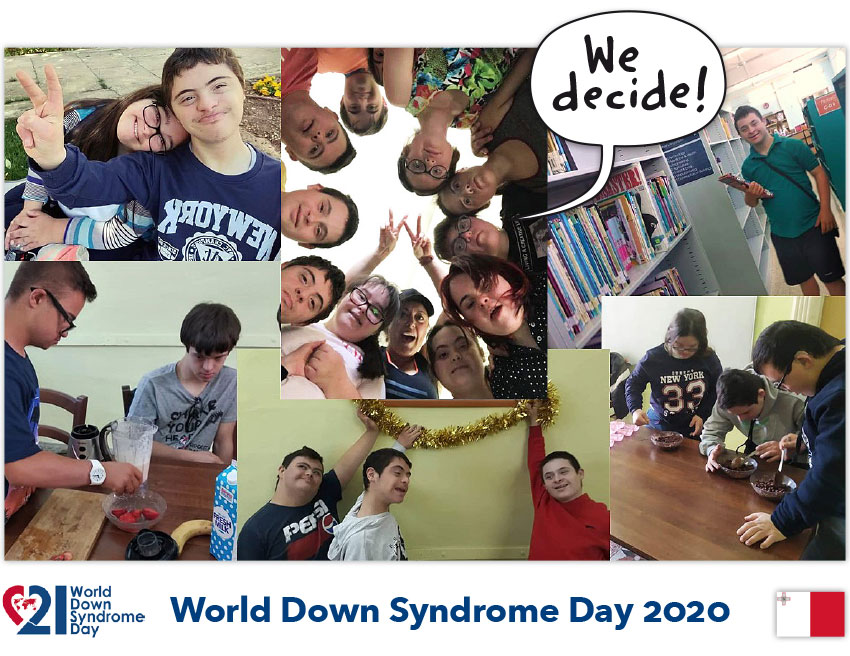 Photo collage with young people with Down syndrome from Malta